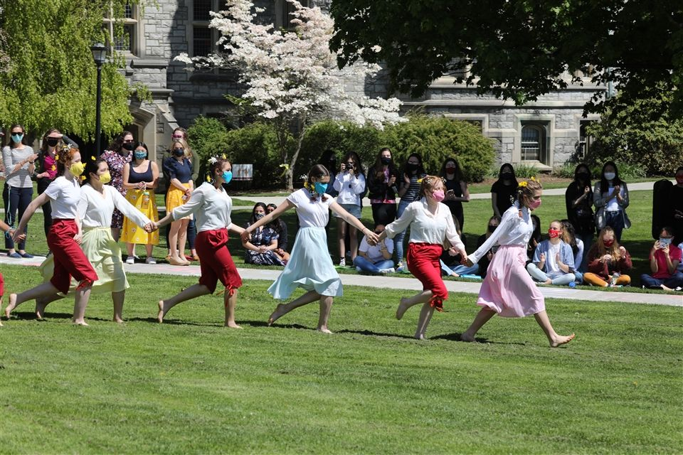 Tess and classmates during May Day celebrations